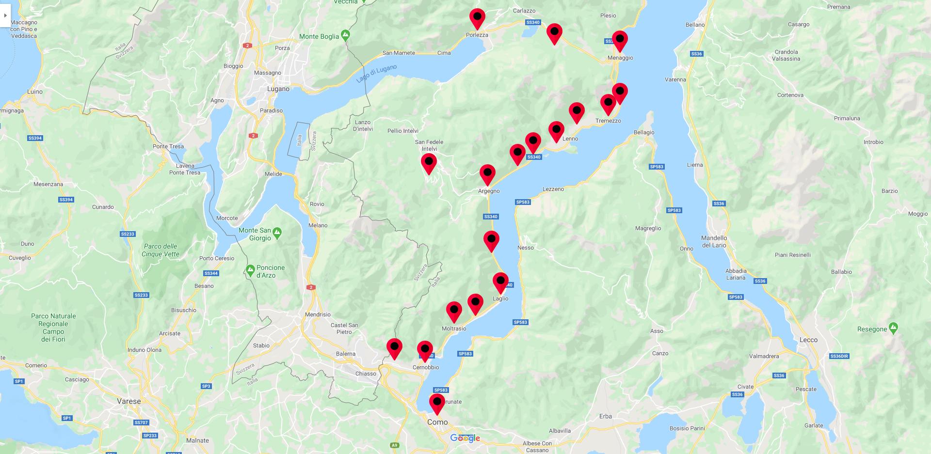 Mappa territorio servito Lagori O. F.